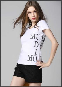 New Fashion 100% Cotton Cheap Women′s Custom Printed T-Shirt pictures & photos
