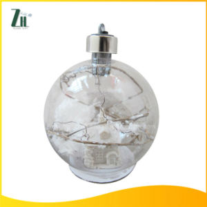 Clear Changing LED Christmas Glass Ball with House Inside pictures & photos