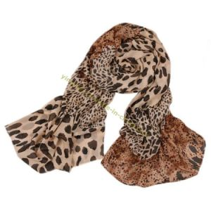 Lady Fashion Leopard Velvet Chiffon Scarf pictures & photos