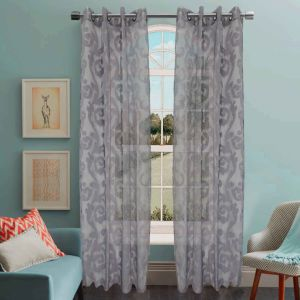 Jacquard Sheer Grommet Panel Window Curtain (HR14WT076) pictures & photos