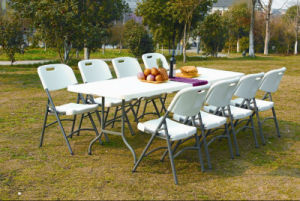 garden furniture 8 seats portable plastic folding table for camping picnic dining party - Garden Furniture 8