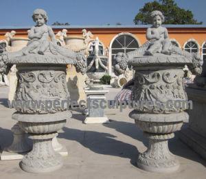 Stone Marble Flowerpot for Garden Sculpture (QFP322) pictures & photos