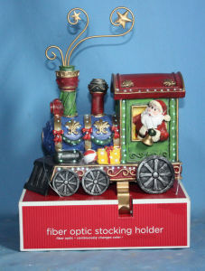 "6""Stocking Holder of Christmas Train with Fiber Optic (10014)"