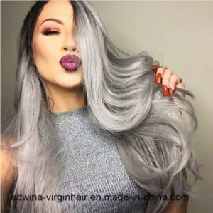 European Fashion Long Wave Ombre Grey Lace Front Synthetic Hair