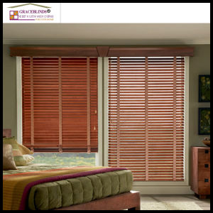 50mm Stained Color Basswood Slats UV Surface Coating High Profile Metal Head Rail Wood Blinds pictures & photos