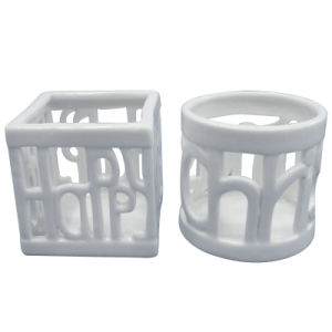 White Hollow out Porcelain Craft Candle Holder pictures & photos