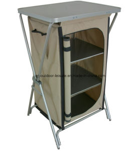 Aluminum Quality Folding Portable Storage 4 Shelf Cupboard (QRJ-G-004)