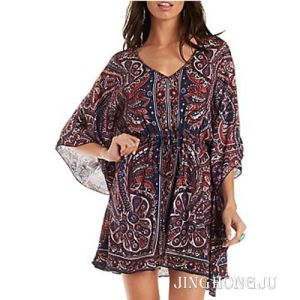 Ladies Woven, Printed Kaftan, Border Print, , Round Neck Long Sleeves Evening Casual 2 Layers Dress