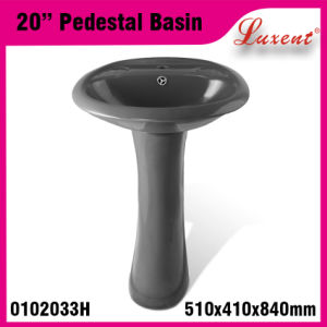 Stoneware Colourfull Floor Mounted Classic Hair Wash Pedestal Sink pictures & photos