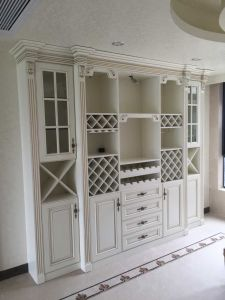 China Antique White Dining Room Cabinets Wine Rack Display Cabinet ...