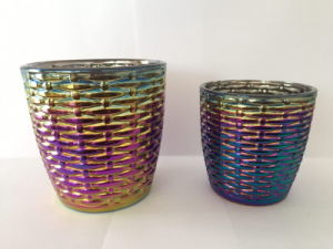 Wholesale Colorful Ion Plating Clear Glass Candle Holder/ Glass Candlestick pictures & photos
