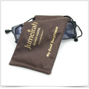 Soft Microfiber Sunglasses Pouch with Gold Stamping pictures & photos