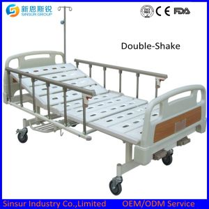 Hospital Ward General Use Manual Double Shake Medical Beds pictures & photos