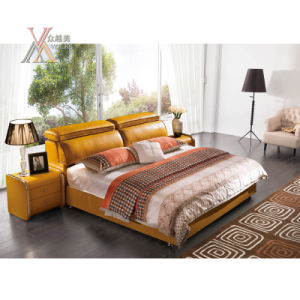 Yellow Leather Bed for Home with Adjustable Headrest (2103+13)