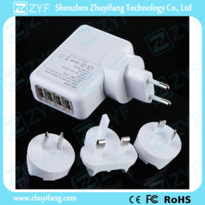 Replaceable Plug Universal 4 USB Outlet Travel Power Adapter (ZYF9015) pictures & photos