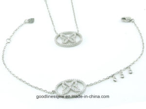 AAA Cubic Zirconia Sterling Silver Necklace Bracelet Jewelry Set S3277 pictures & photos