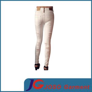 High Quality White 100% Cotton Women Jeans Jc1348 pictures & photos