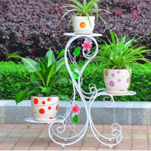 European Style 3-Tier Wrought Iron Flower Stand pictures & photos