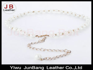 Woman Peal Beads Hook Decoration Narrow Waist Belt with Metal Chain pictures & photos