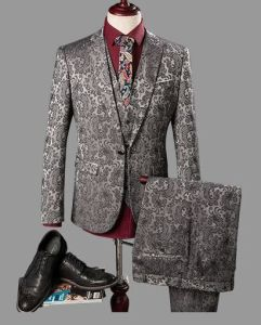 Grey Jacquard Suits Three-Piece Suit Fused Suit pictures & photos