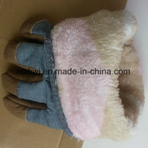 Winter Warm Labor Gloves, Winter Warm Working Glove, Winter Work Glove, Leather Winter Working Glove, Cow Grain Leather Fleecy Lined Winter Warm Working Glove