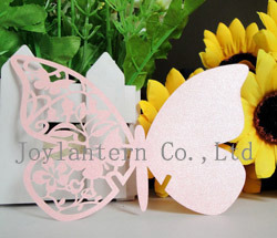 Butterfly Wedding Favors Pink Place Card for Wine Glass with Free Name Logo