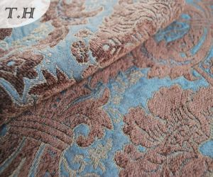 2016 Big Blue Flower Jacquard Fabric by China Factory (FTH31106A) pictures & photos