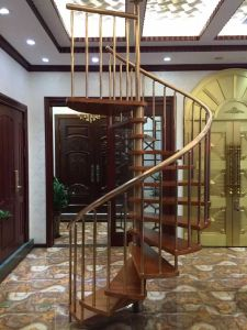 Firm and Easy to Install Spiral Staircase with Painting Solid Wood Tread pictures & photos