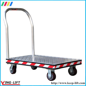 Four PU Wheels Aluminum Hand Cart with Handle Bf3048 pictures & photos