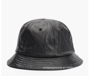 Custom Logo Cool Blank Cypress Hill Mens Black Leather Bucket Hat pictures & photos