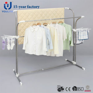 Stainless Steel Double Pole Telescopic Clothes Hanger with Extra Clips pictures & photos