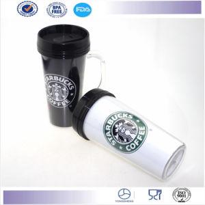 New Doubule Wall Coffee Mug with Handle Promotion Travel Mug Plastic Cup