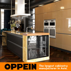 Luxury Dark Gold Wooden Lacquer Kitchen Cabinets with Island (OP16-L20) pictures & photos