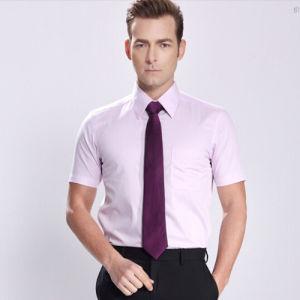 Men′s Slim White Plain Short Sleeve Cotton Business Shirt pictures & photos
