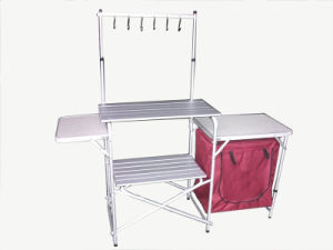Camping Kitchen Center Stand Portable Folding Camp Cooking Aluminum Picnic Table with Windscreen (QRJ-T-003B) pictures & photos