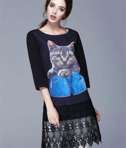 2015 Large Size Seven Point Sleeve Chiffon Dress/ Owl Printed Dress for Women D1598 pictures & photos