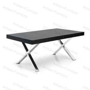 Modern Black Extendable Dining Table with Chrome Steel Legs (JP-T-008)