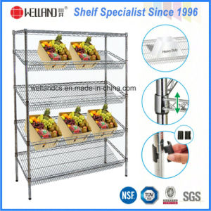 Commercial Used 4 Layers Adjustable Steel Vegetable Display Rack pictures & photos