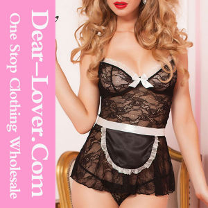 Black Sexy 4PCS House Call Babydoll Set pictures & photos