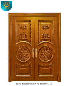 Classic Style Solid Wood Door for Two Doors with Carving (ds-008) pictures & photos
