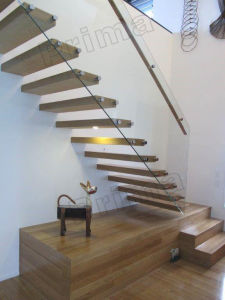Internal Solid Wood Treads Floating Stair Case pictures & photos