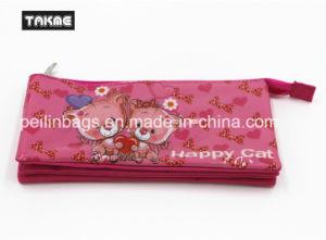Cartoon Transparent PVC Printing Triple-Layer Pencil Case Bag for Children