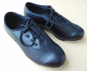 Unisex Black Cow Leather Tap Shoes pictures & photos