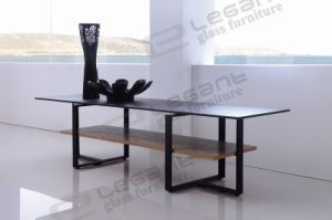 Stone Painting Glass TV Stand with Black Powder Iron Frame pictures & photos