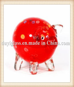Animal Red Pig Glass Craft for Display