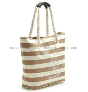Custom Leisure Striped Canvas Beach Bag with Cotton Rope pictures & photos