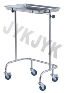 Stainless Steel Medical Mayo Tray Stand Trolley with Two Posts pictures & photos