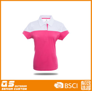 Lady′s Polyester Polo Short Sleeve Shirt pictures & photos