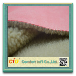 Hot Sale Upholstery Suede 100% Polyester Microfiber Suede Boned with Fur pictures & photos