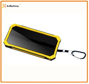 Hot Sale Travel Dual Output Mobile Solar Power Bank Charger with Bright LED Light 8000mAh pictures & photos